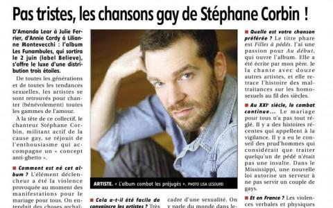 <b>L&rsquo;Echo Républicain</b> &#8211; Pas tristes les chansons gay de Stéphane Corbin